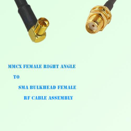 MMCX Female Right Angle to SMA Bulkhead Female RF Cable Assembly