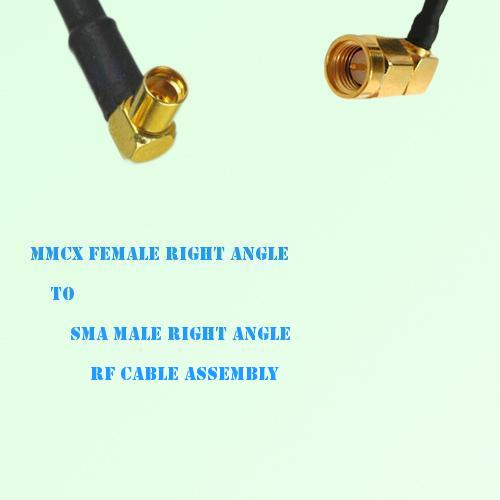 MMCX Female Right Angle to SMA Male Right Angle RF Cable Assembly