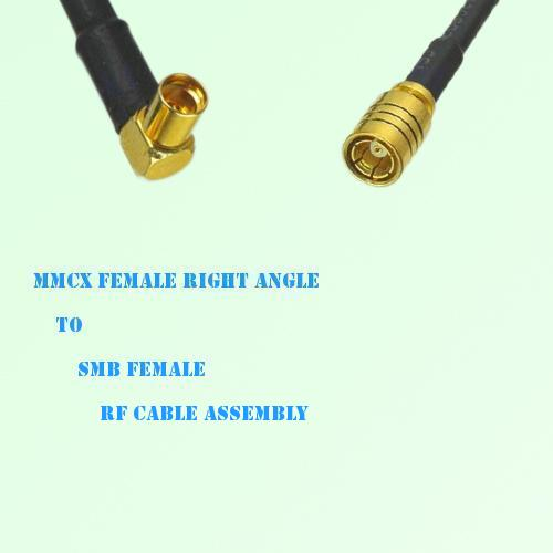 MMCX Female Right Angle to SMB Female RF Cable Assembly