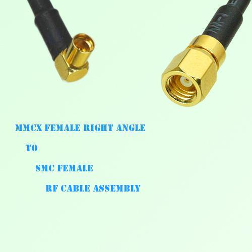 MMCX Female Right Angle to SMC Female RF Cable Assembly