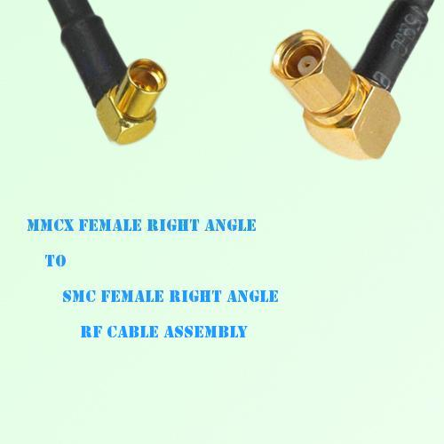 MMCX Female Right Angle to SMC Female Right Angle RF Cable Assembly