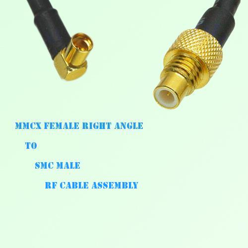 MMCX Female Right Angle to SMC Male RF Cable Assembly