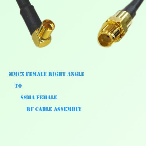 MMCX Female Right Angle to SSMA Female RF Cable Assembly