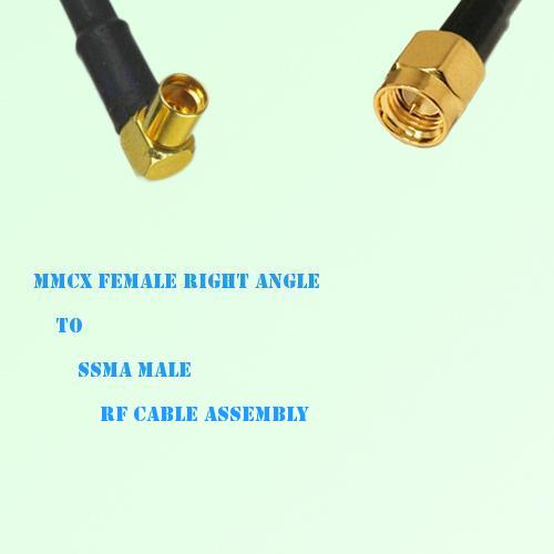 MMCX Female Right Angle to SSMA Male RF Cable Assembly