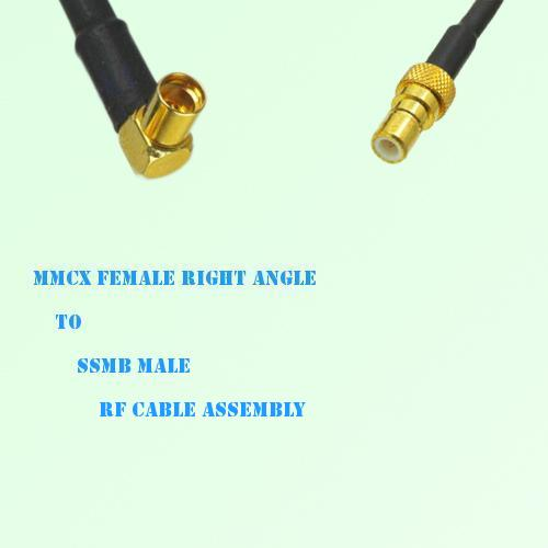 MMCX Female Right Angle to SSMB Male RF Cable Assembly