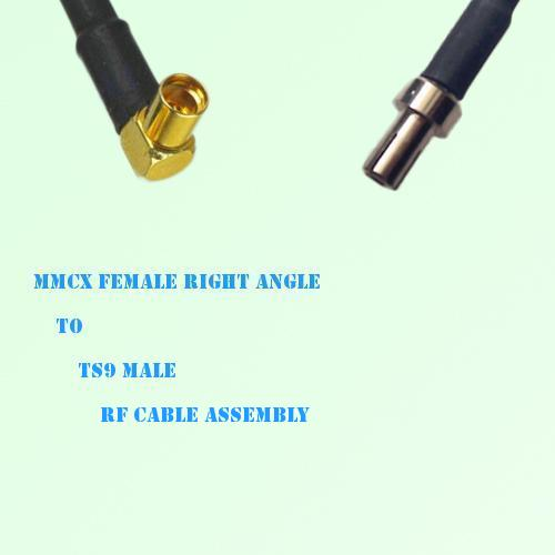 MMCX Female Right Angle to TS9 Male RF Cable Assembly