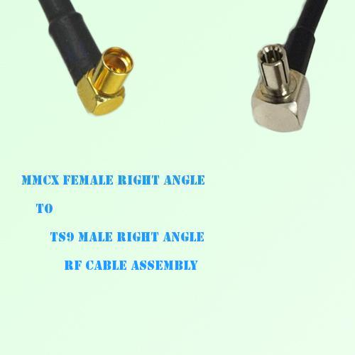 MMCX Female Right Angle to TS9 Male Right Angle RF Cable Assembly