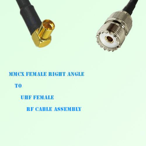 MMCX Female Right Angle to UHF Female RF Cable Assembly