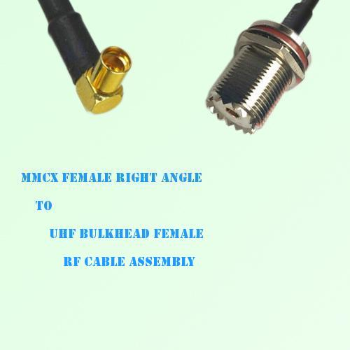 MMCX Female Right Angle to UHF Bulkhead Female RF Cable Assembly
