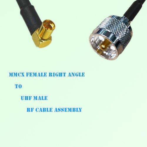 MMCX Female Right Angle to UHF Male RF Cable Assembly