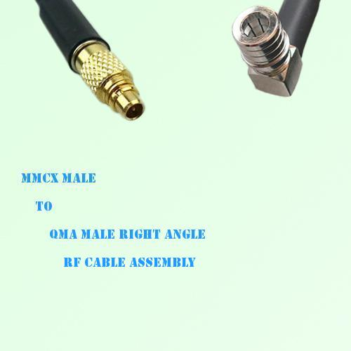 MMCX Male to QMA Male Right Angle RF Cable Assembly
