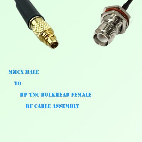 MMCX Male to RP TNC Bulkhead Female RF Cable Assembly