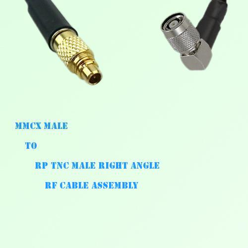 MMCX Male to RP TNC Male Right Angle RF Cable Assembly