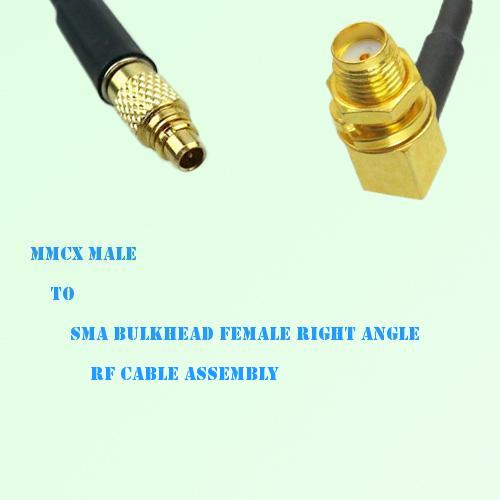 MMCX Male to SMA Bulkhead Female Right Angle RF Cable Assembly