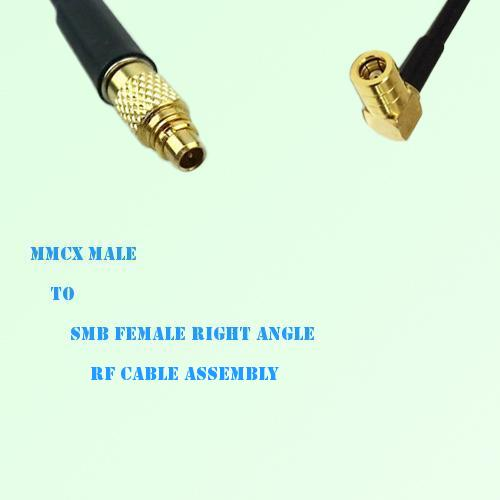 MMCX Male to SMB Female Right Angle RF Cable Assembly