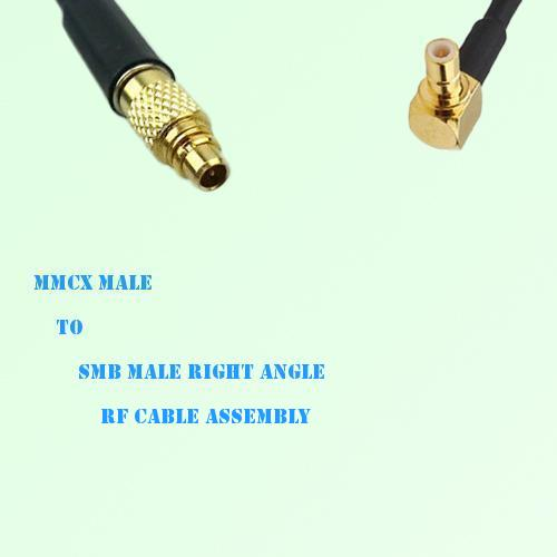 MMCX Male to SMB Male Right Angle RF Cable Assembly