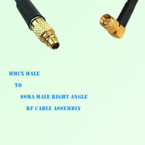 MMCX Male to SSMA Male Right Angle RF Cable Assembly