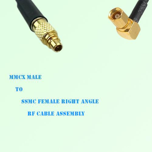 MMCX Male to SSMC Female Right Angle RF Cable Assembly