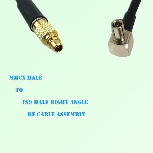 MMCX Male to TS9 Male Right Angle RF Cable Assembly