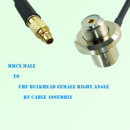 MMCX Male to UHF Bulkhead Female Right Angle RF Cable Assembly
