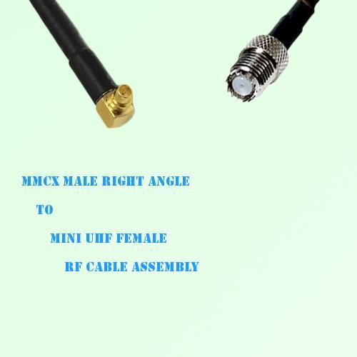 MMCX Male Right Angle to Mini UHF Female RF Cable Assembly