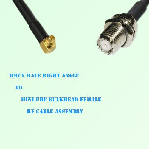 MMCX Male Right Angle to Mini UHF Bulkhead Female RF Cable Assembly