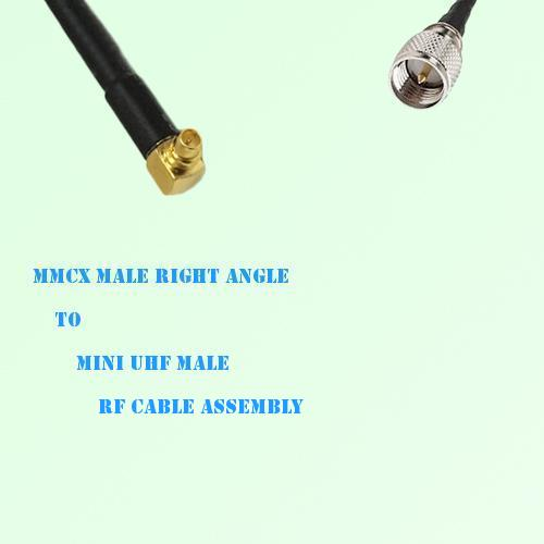 MMCX Male Right Angle to Mini UHF Male RF Cable Assembly