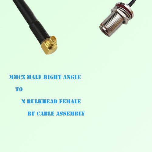 MMCX Male Right Angle to N Bulkhead Female RF Cable Assembly