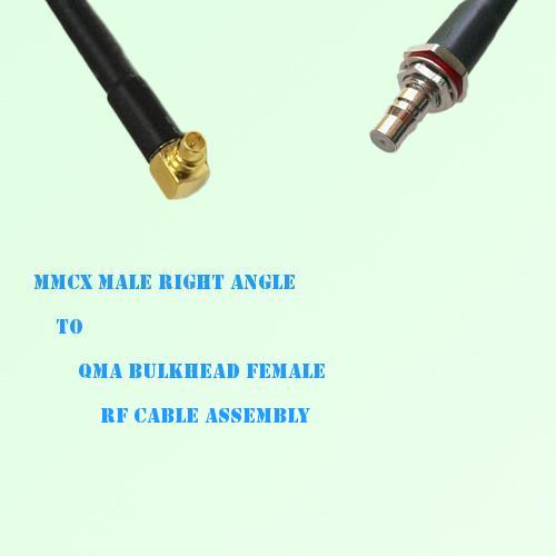 MMCX Male Right Angle to QMA Bulkhead Female RF Cable Assembly