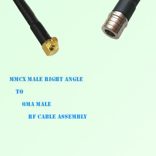 MMCX Male Right Angle to QMA Male RF Cable Assembly