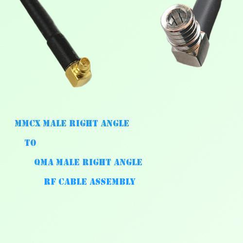 MMCX Male Right Angle to QMA Male Right Angle RF Cable Assembly