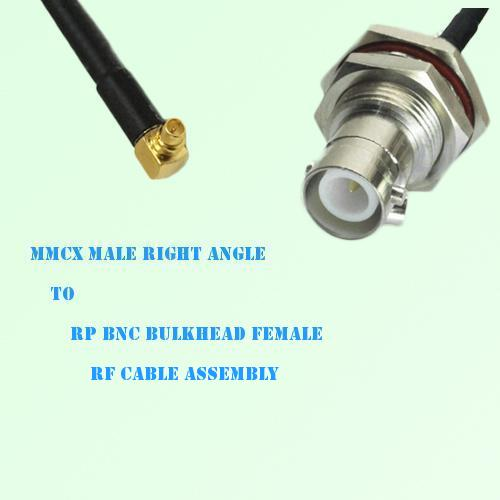 MMCX Male Right Angle to RP BNC Bulkhead Female RF Cable Assembly