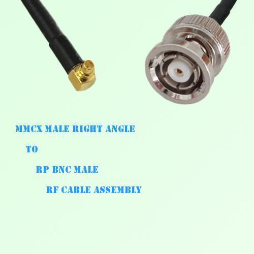 MMCX Male Right Angle to RP BNC Male RF Cable Assembly