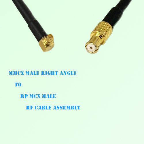 MMCX Male Right Angle to RP MCX Male RF Cable Assembly