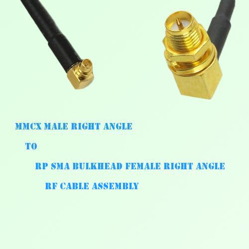 MMCX Male R/A to RP SMA Bulkhead Female R/A RF Cable Assembly