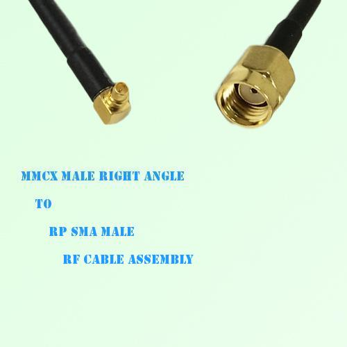 MMCX Male Right Angle to RP SMA Male RF Cable Assembly