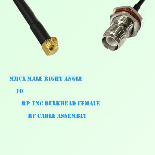 MMCX Male Right Angle to RP TNC Bulkhead Female RF Cable Assembly
