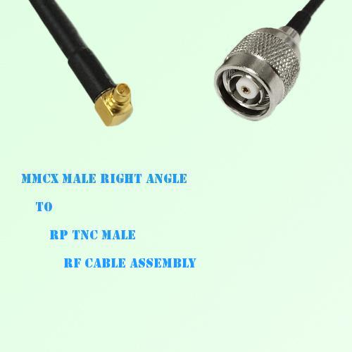 MMCX Male Right Angle to RP TNC Male RF Cable Assembly