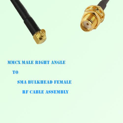 MMCX Male Right Angle to SMA Bulkhead Female RF Cable Assembly