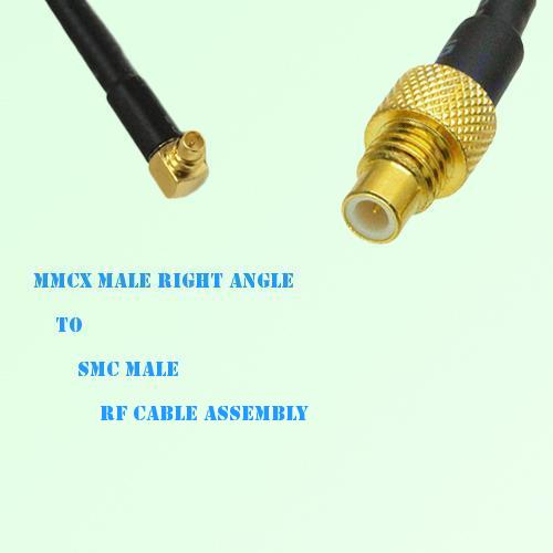 MMCX Male Right Angle to SMC Male RF Cable Assembly