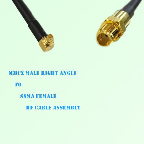 MMCX Male Right Angle to SSMA Female RF Cable Assembly
