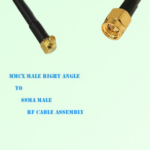 MMCX Male Right Angle to SSMA Male RF Cable Assembly