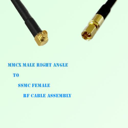 MMCX Male Right Angle to SSMC Female RF Cable Assembly