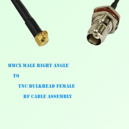 MMCX Male Right Angle to TNC Bulkhead Female RF Cable Assembly