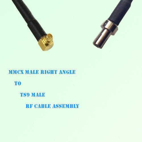 MMCX Male Right Angle to TS9 Male RF Cable Assembly