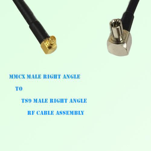 MMCX Male Right Angle to TS9 Male Right Angle RF Cable Assembly