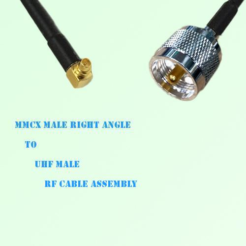 MMCX Male Right Angle to UHF Male RF Cable Assembly