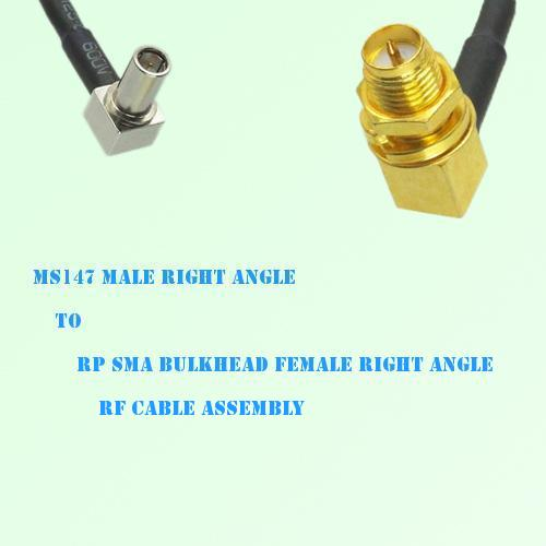 MS147 Male R/A to RP SMA Bulkhead Female R/A RF Cable Assembly