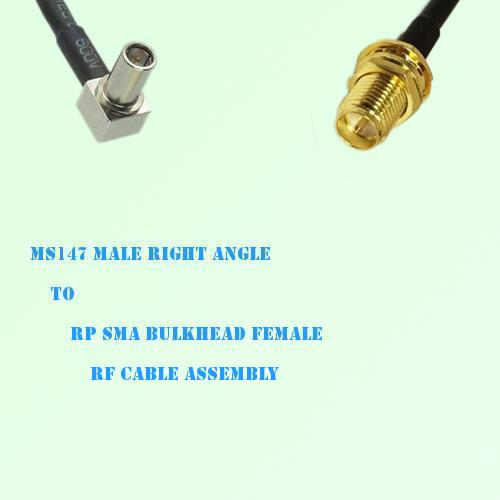 MS147 Male Right Angle to RP SMA Bulkhead Female RF Cable Assembly
