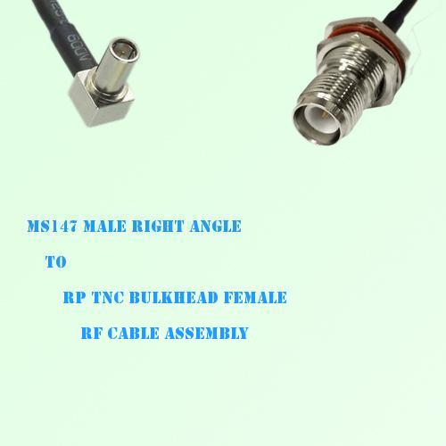 MS147 Male Right Angle to RP TNC Bulkhead Female RF Cable Assembly
